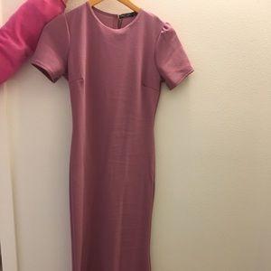 Long pink skinny dress